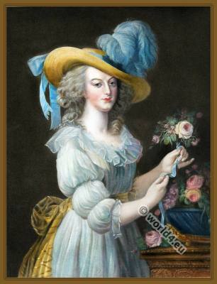French Queen Marie Antoinette. 18th century fashion. France Hat styles. Rococo Costumes. Fashion at the Court of Versailles