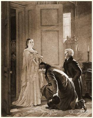 Queen Victoria greeted as Queen. England Victorian costume.