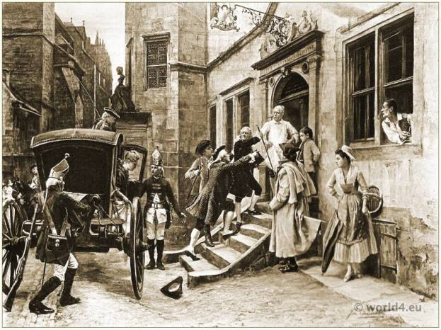 The Arrest of Voltaire.. Baroque costumes. Author of the French and European Enlightenment. French philosopher