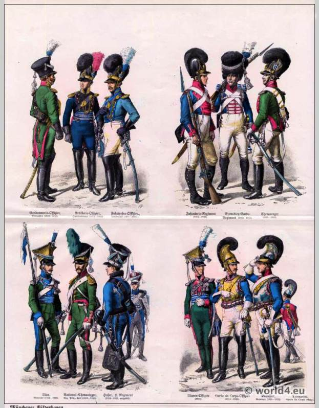Bavarian Military uniforms. Uhlan, Police officer, Captain, Artillery officer, Logistics Officer Lieutenant, Cuirassier, Garde du Corps, Hussar, Chevauleger