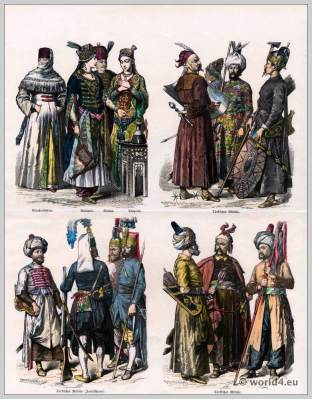 Turkish costumes Ottoman Empire. Ottoman women street costume. Clothing of Sultana, Sultan and Turkish dancer. Turkish military. Janissaries clothing.