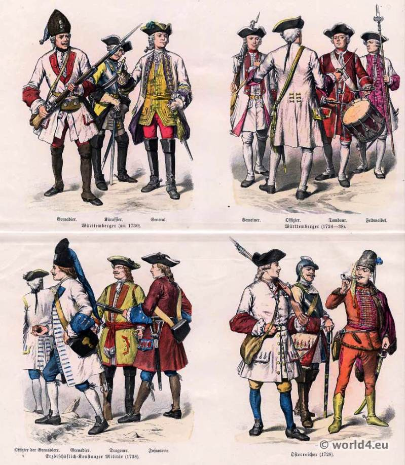 German and Austrian military uniforms. Württemberg military. Uniforms of Grenadier, Knight-Captain, Common soldier, officer, drummer and sergeant and General. Constance archiepiscopal military.