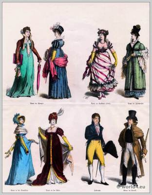 Women in spencer. Man in Carrick coat. German Empire fashion. Ball gown. Lady with cylinder hat.