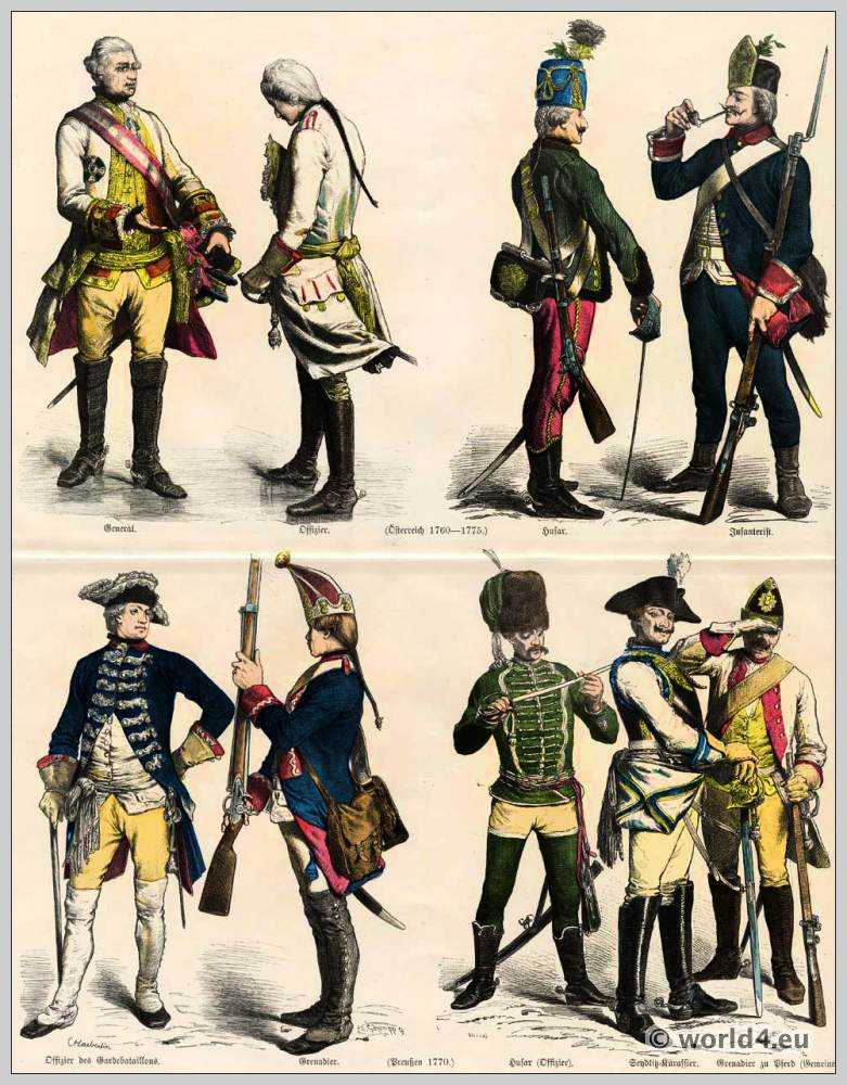 Austrian and Prussian Military uniforms. Austrian General and officer. Sendlitz cuirassier. Husar and infantryman. Prussian officer. Prussian Grenadier