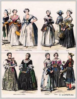 German and French civil costumes from Strasbourg, Karlsruhe, Vienna, Frankfurt, Augsburg, Strasbourg, Ludwigsburg, Munich. Black Forest peasant costume.
