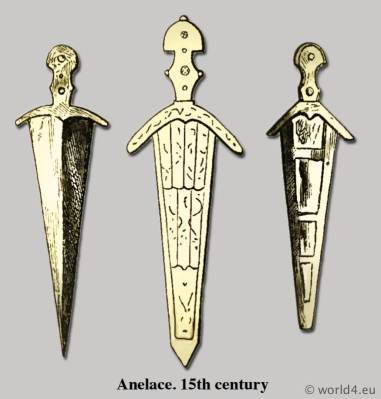 Anelace. 15th century. Broad knife or dagger. Medieval Armour. Middle ages dresses. Cyclopedia of Costume.