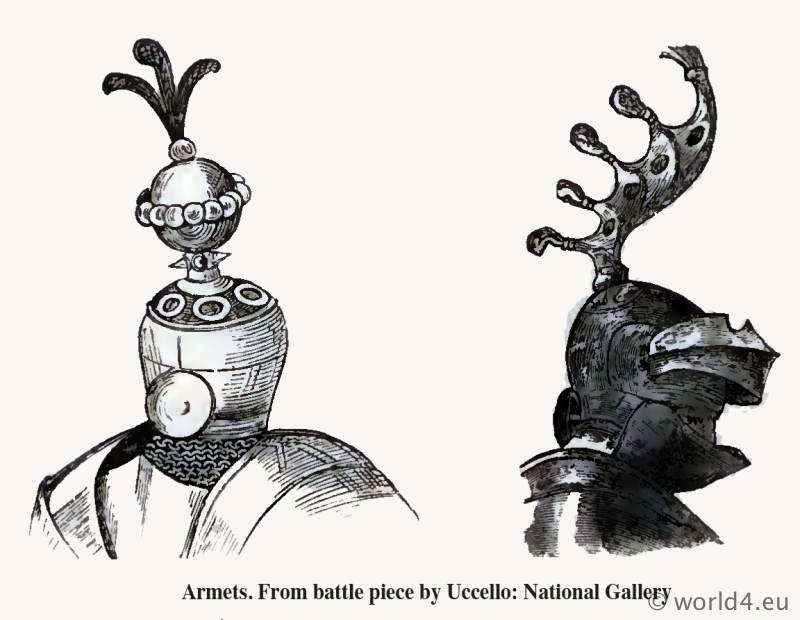 Armets. From the Mayrick Collection. Helmet 15th century. Medieval weapon. Middle ages knight armor. Dictionary of Dress