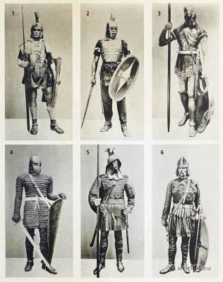 Ancient warriors. Roman legionary, Gallic warrior, Greek Hoplite Warrior, Carolingian Frankish knights. Merovingian warriors, Carl Gimbel