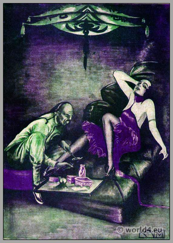 Bachelor costume. Art Deco fashion. Opium smoker. Roaring Twenties.