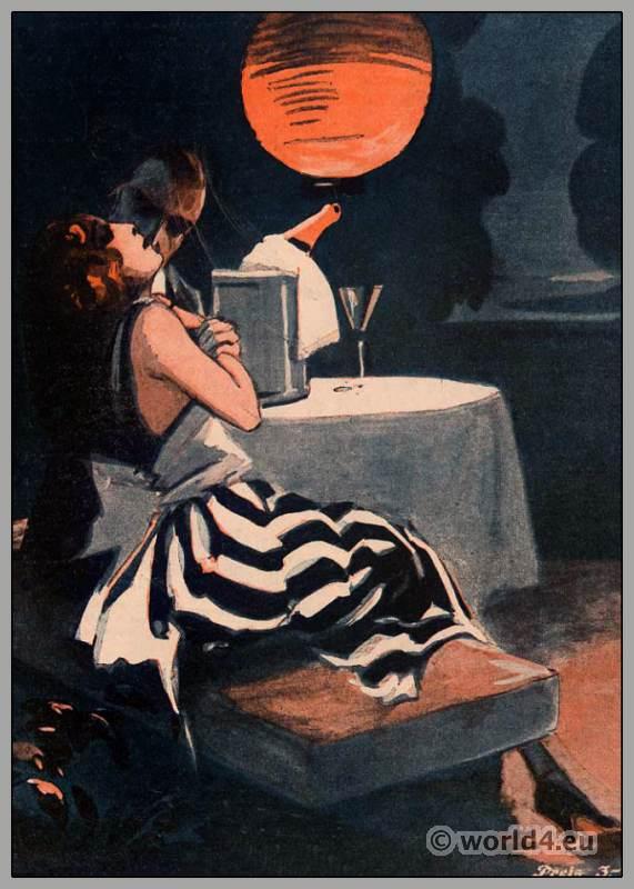 Art Deco fashion. Roaring Twenties. Costumes 1920s. The bachelor magazine