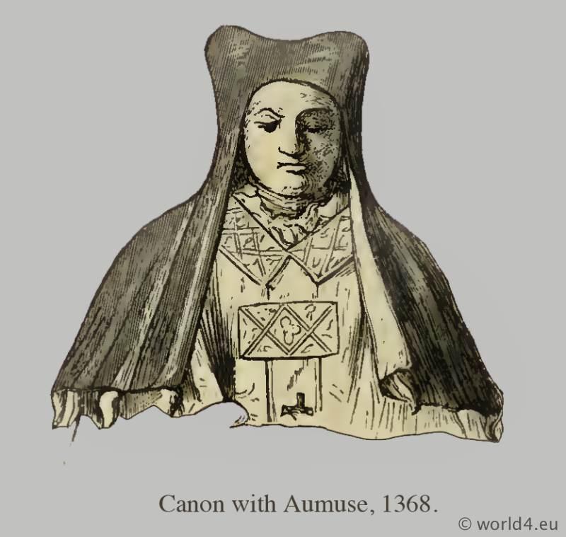 Canon with Aumuse. Medieval clothing. Middle ages hood dresses. Monks habit, Pontifical habit