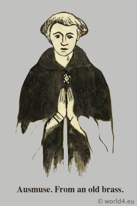 Aumuse. Medieval clothing. Middle ages hood dresses. Monks habit, Pontifical habit