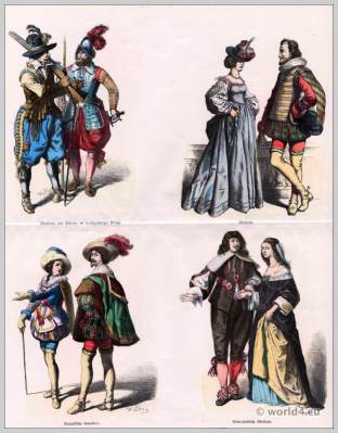 French Musketeer costumes. Baroque Costumes in the 17th Century. Pikeman dress, French Cavalry clothing. Dutch noblemen