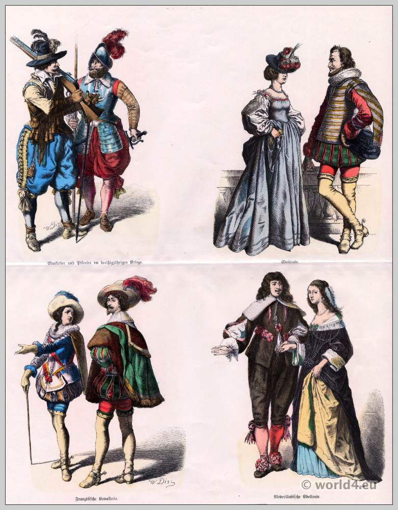 Baroque Costumes in the 17th Century. Musketeer and Pikeman dress, French Cavalry clothing. Dutch noblemen