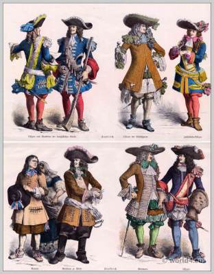 French Musketeers. France military uniforms.Louis XIV fashion.