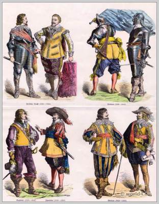 German nobles. 17th century clothing. Baroque fashion. German soldiers uniforms. Fleming Princely.