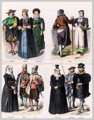 Citizens clothing. Wedding organizer, Swiss peasant costumes, Woman in church clothes, Woman in mourning clothes. Great Waibel. Mayor, Runner.