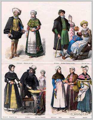 Norway,  Denmark Costumes .17th Century dresses. Baroque fashion.
