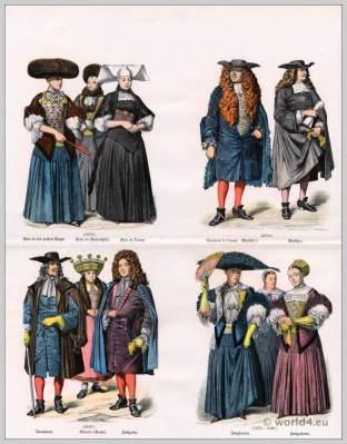 Strasbourg clothes. 17th Century costumes. Baroque era fashion.
