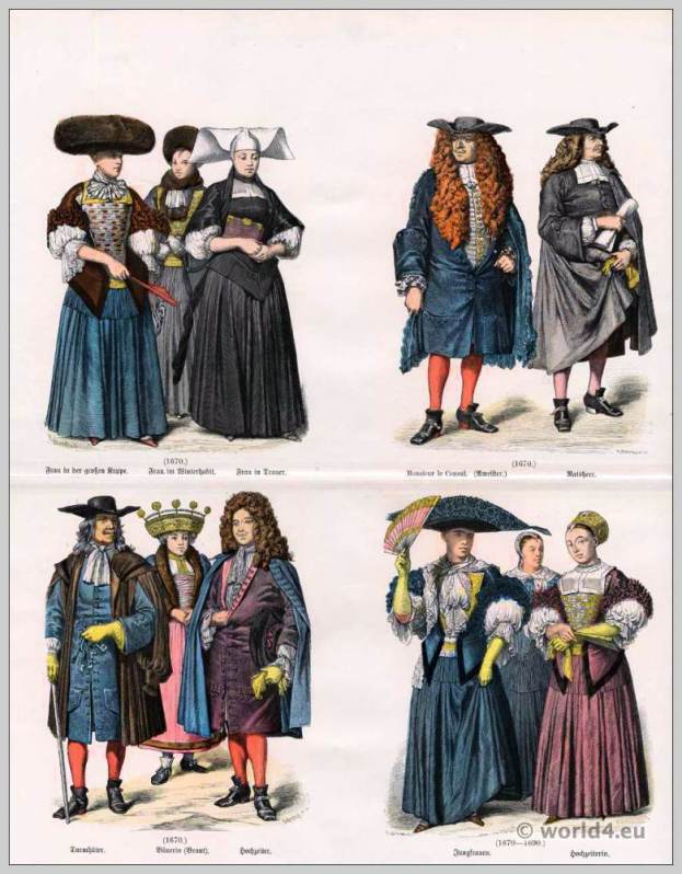 Strasbourg clothes in 17th Century. Woman in winter Habit. Monsieur le Consul. Woman in mourning clothes. Tower keeper. Farmer's wife. Bridegroom costumes