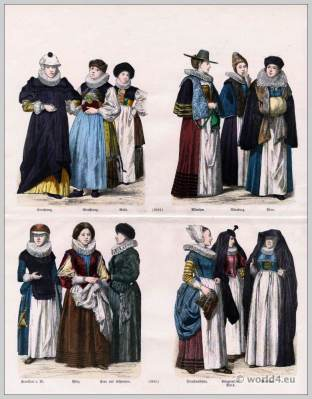 German costumes 17th Century. Matron costume. Maids clothes. Women clothing from Frankfurt On The Main. Women dress from the Palatinate.