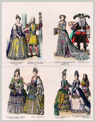Baroque Fashion 17th, 18th Century. Hedwig Sophie, Princess of Sweden, Duchess of Holstein. Françoise Marie de Bourbon, Duchess of Orleans. Palace Guard. Louis XV. Maria Anna of Bavaria. Elisabeth of Brunswick. Duchess of Portsmouth.