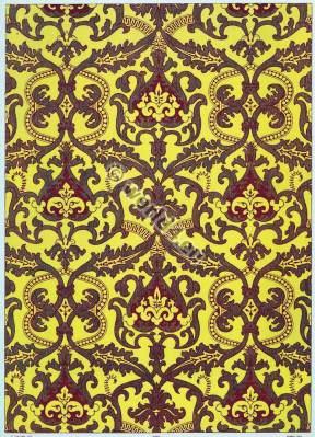 French baroque design fabrics. 17th century fabrics. Medieval textil design.