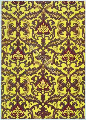 French baroque design fabrics. 17th century fabrics. Medieval textil design.