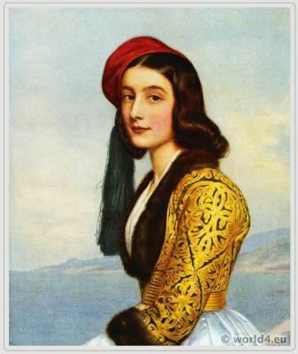 Joseph Stieler, Katharina Botzaris, Beauties gallery, Bavarian King Louis I, fashion, history, historical, dress, costumes,