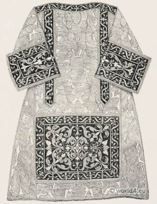 Chasuble decorated with embroidery. Renaissance clothing. Priest costume. Vestments 16th century.