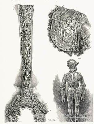 16th Century. German blackened steel armor. Renaissance era weapons.