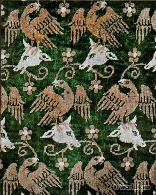Persian silk velvet. Persian medieval fabrics. 16th century fabric design