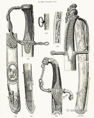 Handles and scabbards of swords. Weapons of Honor. French Revolution 18th Century.