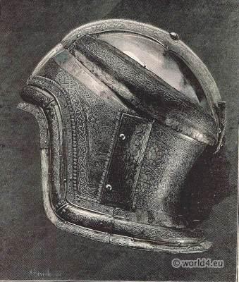 Boabdil, Moorish king. Saracen Helmet. Medieval military weapons. Renaissance weapons
