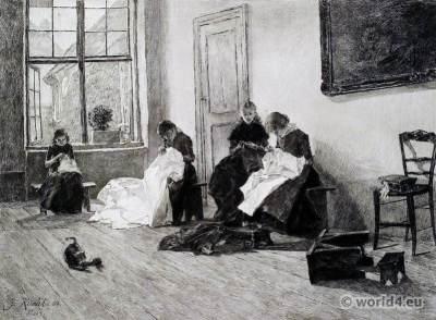 Orphan girls at needlework. Lubeck Germany. Children Costumes. Teenage clothing
