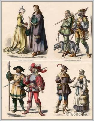 Renaissance costumes. Medieval clothing. Lansquenets dress.