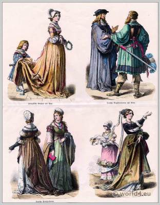German, French, renaissance, fashion, 16th,century, Medieval, clothing, Middle ages, dresses.