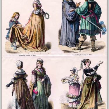 German and French renaissance fashion 1520. Medieval clothing. Middle ages dresses.