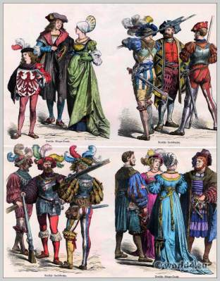 Renaissance fashion. German mercenaries costume. German citizen dress. Münchener Bilderbogen.