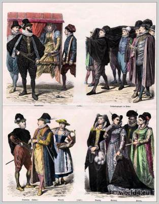 Italy renaissance fashion end of the 16th century. 16th century costumes. Medieval clothing. Middle ages dresses.