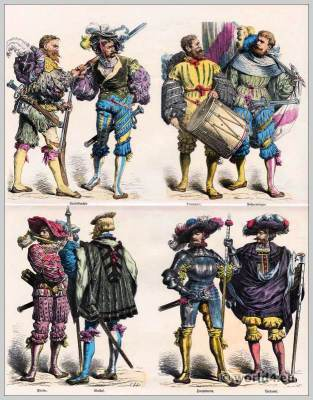German lansquenets. Thirty Years' War clothing. Military uniforms. Renaissance era costumes.
