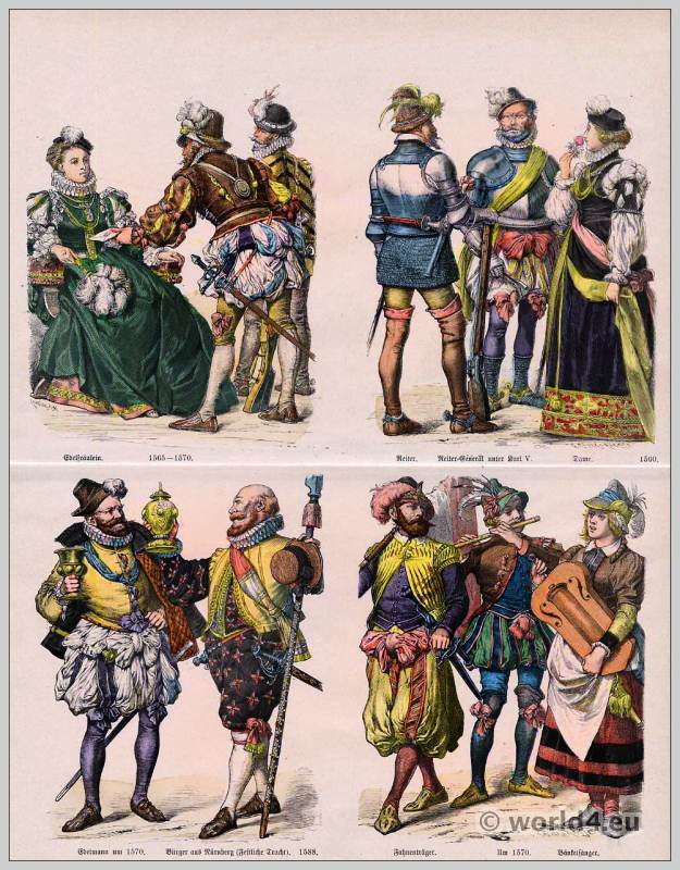 German Renaissance Fashion in the 16th Century. Medieval clothing. Middle ages dresses.