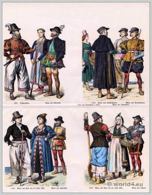 Friesland Costumes 16th Century. Traditional Medieval clothing. German Middle ages dresses.