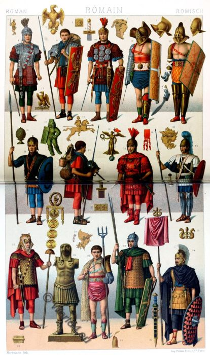 phaleratus, centurion, eques, impediti, triarii, Caesar Empero, military tribune, vexillarius, mirmillo, hoplomachos, retiarius, Roman, gladiators, soldiers, legionaries, weapons, August Razinet,