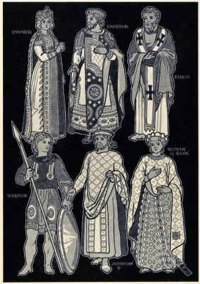 Ancient Byzantine costumes. Justinian, Woman of Rank. Warrior. Bishop, Emperor, Empress.