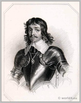 James, Duke of Hamilton in Armor. England 17th century clothing. Baroque costume.