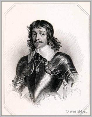 James, Duke of Hamilton in Armor. England 17th century nobility. Baroque costume.