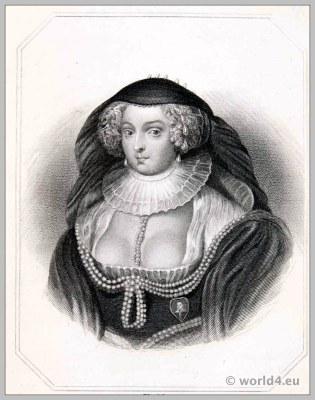 Frances Howard, Duchess of Richmond. England 17th century clothing. Baroque costume.