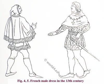 French Medieval male dress, 13th century. Middle ages clothing