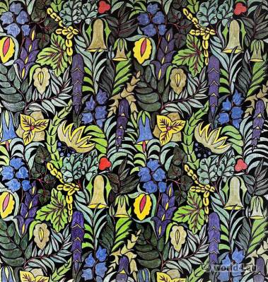 Herta Koch. Design print fabric. German embroidery textil designer. Darmstadt Wiener Secession. Art nouveau period.